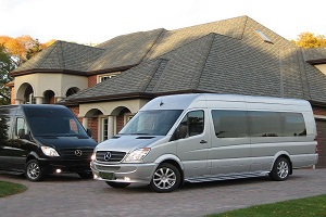 golf tour limos mercedes sprinter vans